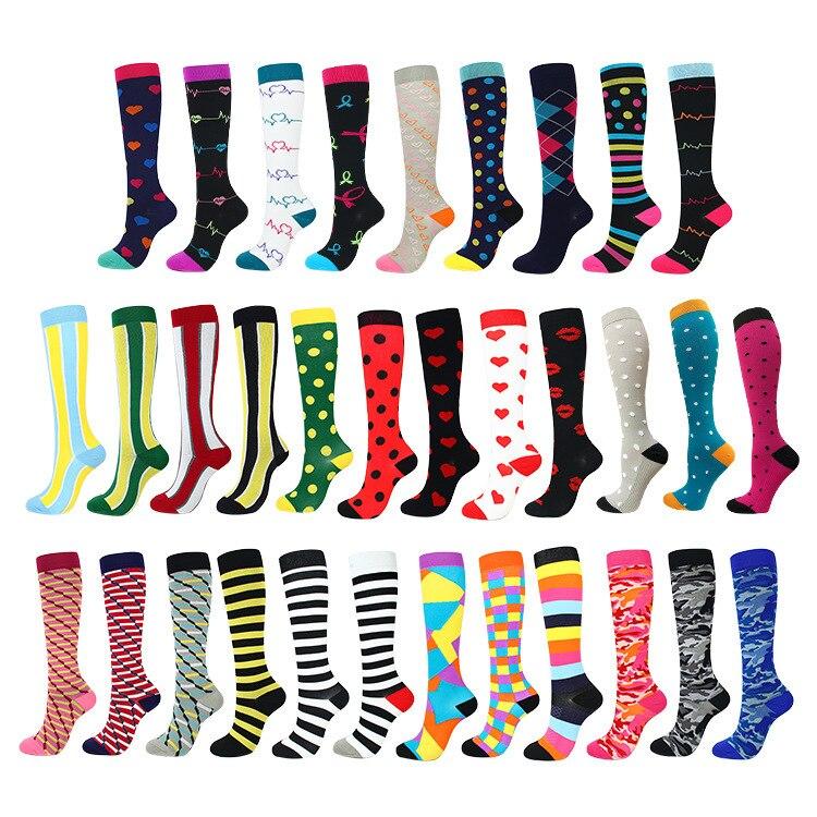 Носки для бега для мужчин и женщин Спортивные Компрессионные счастливые носки с трубкой поддержка нейлона унисекс Спорт на открытом воздух...