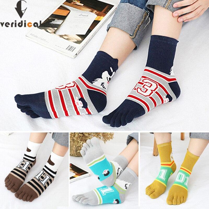 Милые женские носки с пятью пальцами для девочек, хлопковые цветные полосатые носки с надписью и собакой в стиле Харадзюку, короткие носки с...