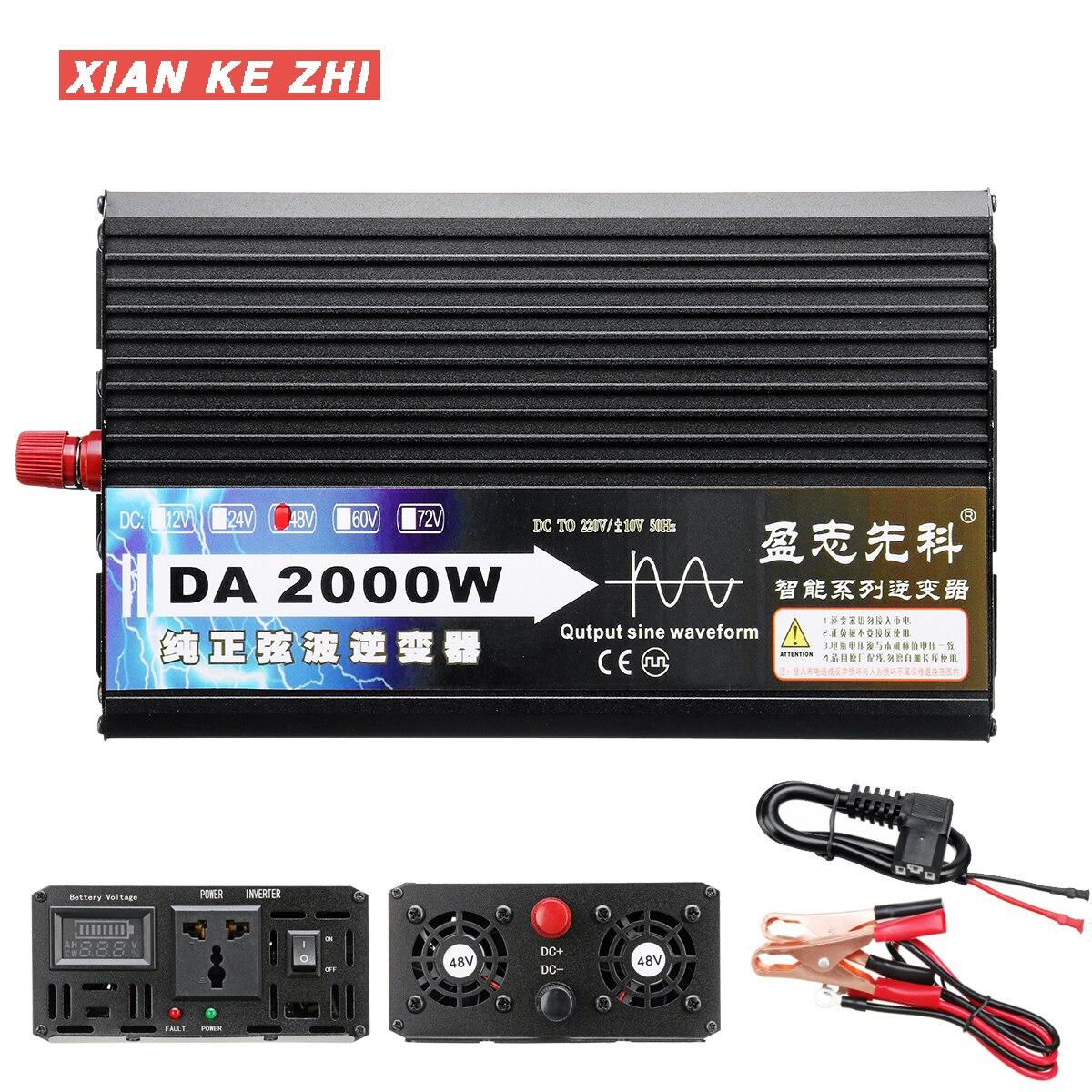 2000W Voltage transformer Pure Sine Wave Power Inverter 12V/24V/48V/60V TO 220V LCD Display Voltage Converter