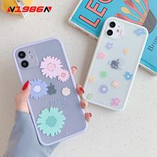 N1986N etui na telefon dla iPhone 11 Pro X XR XS Max 7 8 Plus SE 2020 moda kolorowe kwiat kątowy projekt wyczyść miękka TPU okładka tanie tanio Aneks Skrzynki Right Angle Design Candy Colors Flower Clear Shockproof Apple iphone ów IPhone 7 Plus Iphone 6 plus IPHONE X