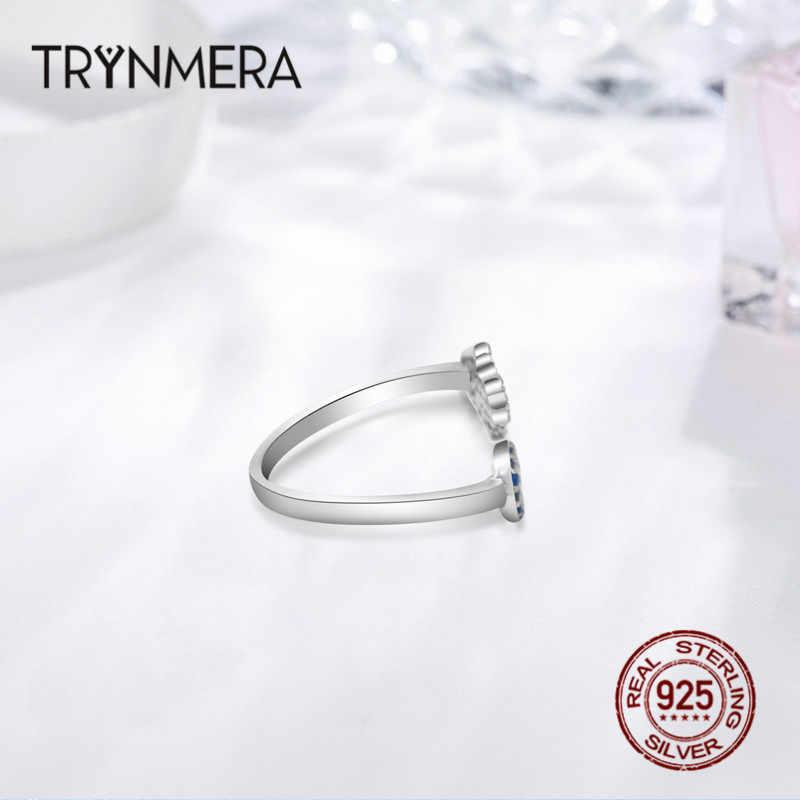Trynmera 925 Sterling Silver Mata Jahat Mata Biru dan Hamsa Tangan Fatima Tangan Dapat Disetel Wanita Cincin Ukuran Terbuka Cincin Pernikahan perhiasan