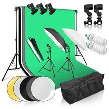 цена на Photo Studio Continuous Lighting Kit 2X3M Background Stand Support System 135W Light Bulb 2m Light Stand Soft Reflector Umbrella