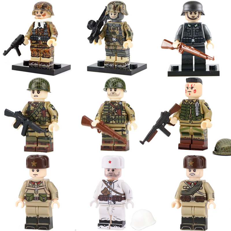 WW2 Military Army Soldier Figures Building Blocks Legoed Military Army Figures Weapon Gun Injured Head Minifigs Parts Bricks Toy
