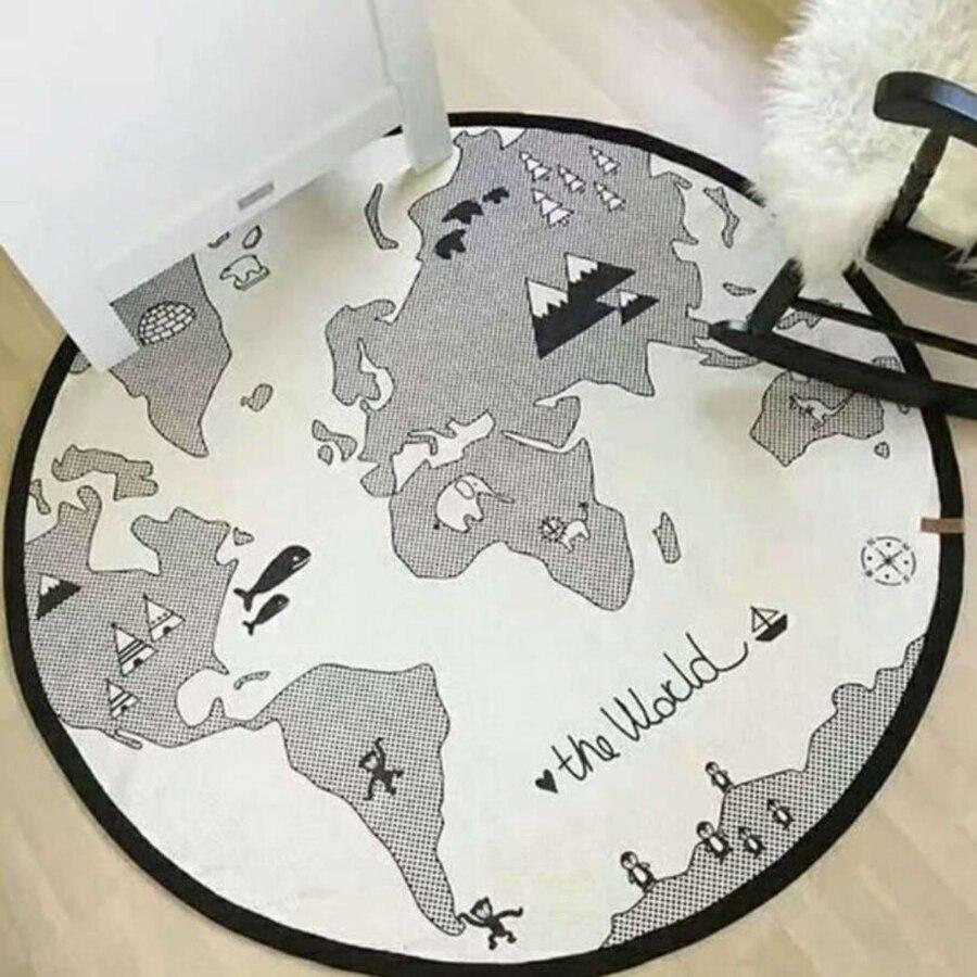 Baby Play Mat Diameter 135 Cm World Map Toddler Crawling Pad Round Carpet Kid Child Climbing Blanket Kid Room Decoration