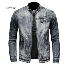 New European Style Stand Collar Bomber Pilot Blue Denim Jacket Men Jeans Coats Slim Motorcycle Casual Outwear Clothing Overcoat