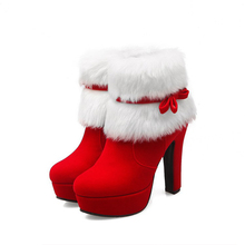 Winter Women Boots Big Size Ankle Christmas High Heels Ladies Shoes Femme Warm Short Red Black Plus 34-43