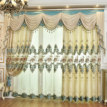 Euramerican-style Velvet Stitching Embroidery with Semi-shading Curtains for Living Dining Room Bedroom.