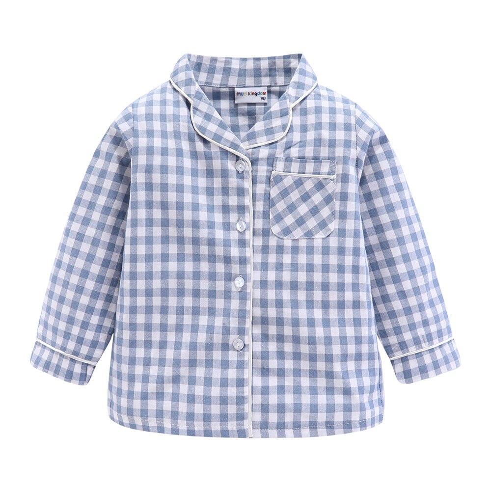 Mudkingdom Boys Girls Long Sleeve Pajamas Set Collared Plaid Autumn Cute Toddler Pajama Kids Sleepwear Children Clothes 4