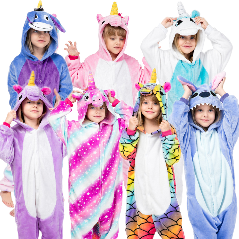 Sleepwear Pijamas-Set Onesies Stich Animal Flannel Kigurumi Girls Winter Kids Boys Children's