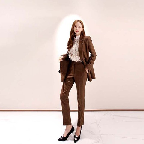 2019 New Office Work Striped Blazer Suits Of High Quality OL Women Pants Suit Blazers Jackets With Trouser Two Pieces Set Lahore