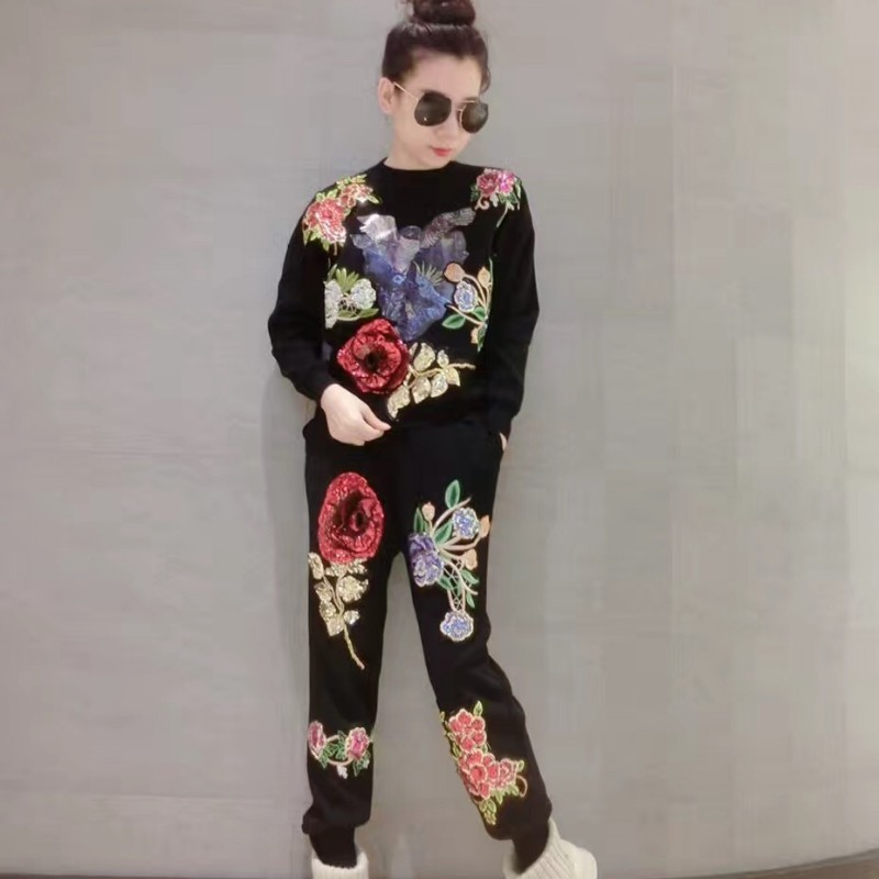 High Street Floral Appliques Sequins Womens Casual Kintting Outifits Long Sleeve O-Neck Top Sweatshirt Full Length Harem Pants