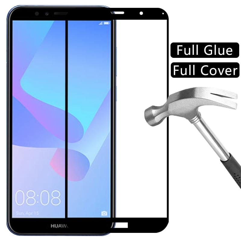 Protetor de tela de vidro temperado para huawei y5 lite y6 y7 pro y9 prime 2019 2018 case capa coque em y 5 6 7 9 5y 6y 7y 9y y62019