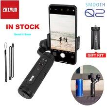 Zhiyun smartphone smooth q2, versão verdadeira portátil, 3 eixos, cardan de mão, para iphone 11 pro max xs samsung s10 s9 s8 x 8p