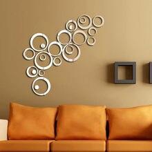 Wand Aufkleber 24 stücke 3d Kreise Spiegel Wand Aufkleber Diy Aufkleber Vinyl Wandbild Home Decor Abnehmbare Kreis Wandaufkleber #121