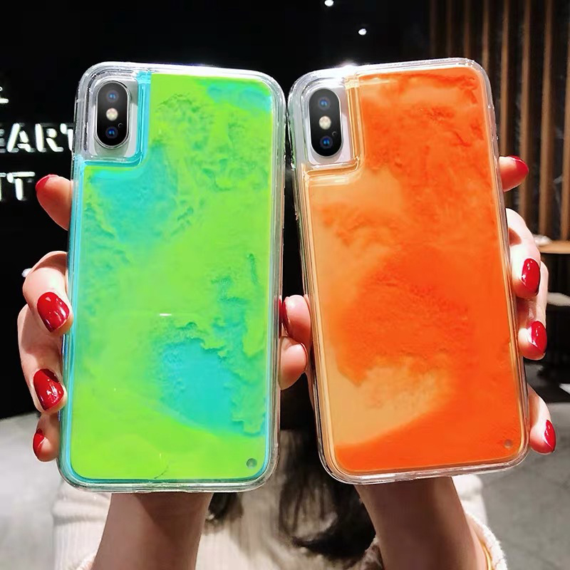New Fashion Noctilucent Dynamic Liquid Quicksand For IPhone 6 6S 7 8 Plus X XR XS Max
