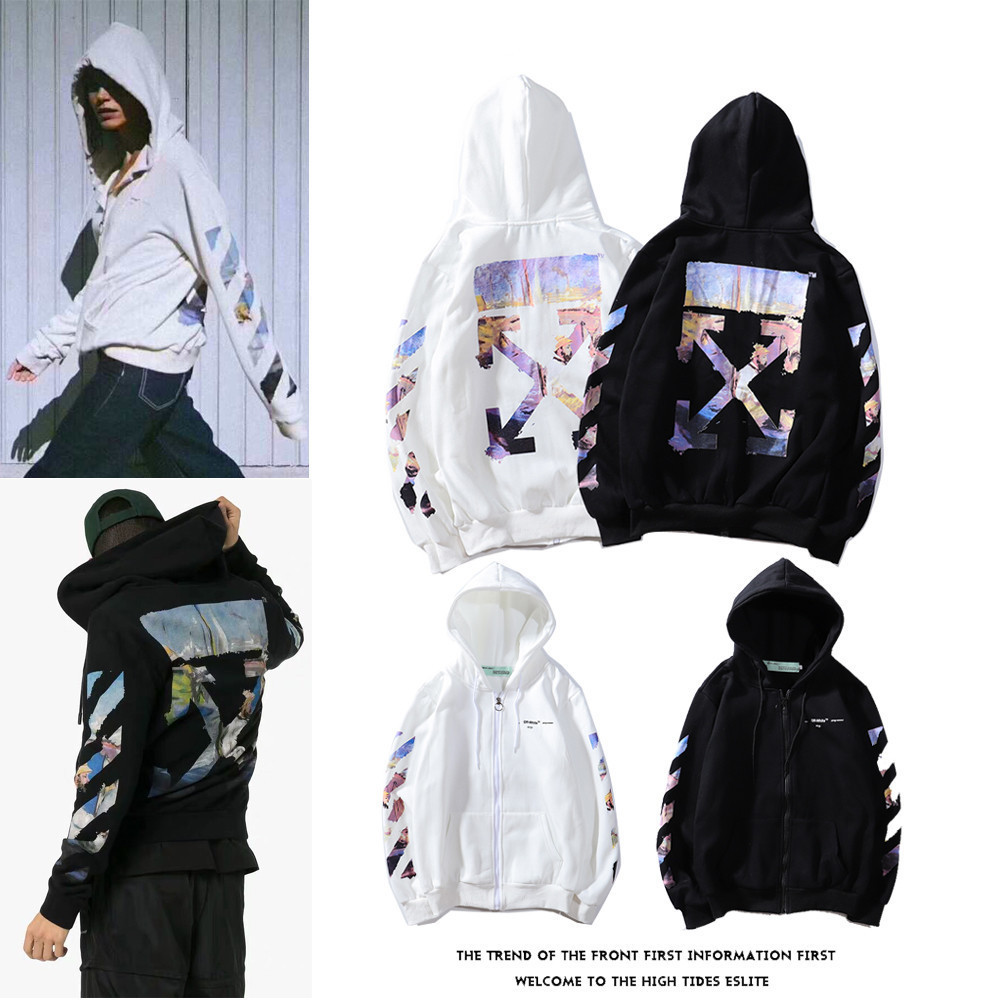 Off Ow White Graffiti Oil Painting Arrowhead Zipper Hoodie Popular Brand Men And Women Couples Men's Sweatshirts & Hoodies Plus