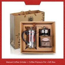 Manual Coffee Grinder + Pressure Pot Bean Grinding Gift Box
