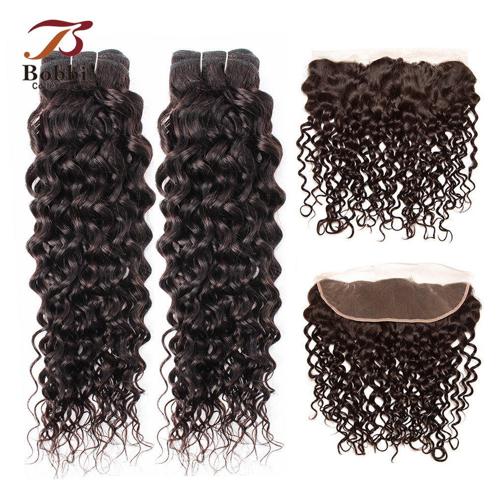 BOBBI COLLECTION Color 2 Darkest Brown Brazilian Water Wave Hair 2/3 Bundles With 4x13 Lace Frontal Non Remy Human Hair Weave