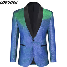 Men Shawl Collar Suit Jackets Male Singer Host Bar Concert Business-casual Blazer Prom Wedding Party Tuxedo Plus Size Costume
