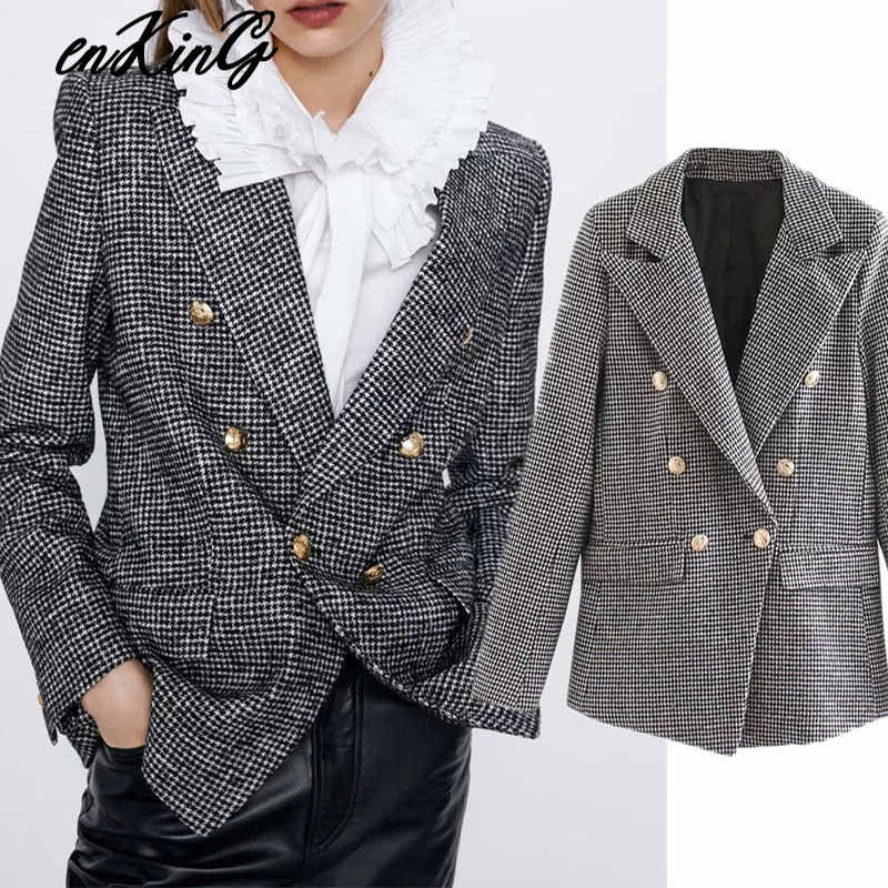 2020 Vrouwen Formele Houndstooth Tweed Za Blazer Double Breasted Lange Mouwen Pockets Jassen Office Wear Casual Tops