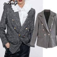2019 women formal houndstooth tweed za blazer double breasted long sleeve pocket