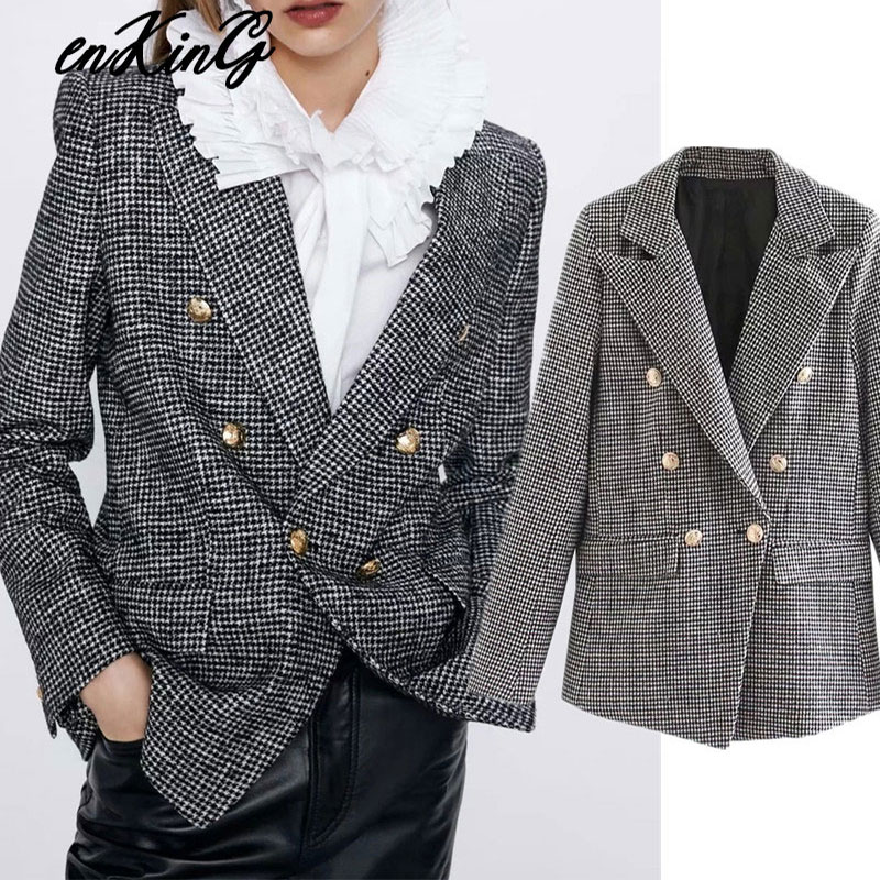 2020  Women Formal Houndstooth Tweed Za Blazer Double Breasted Long Sleeve Pockets Coats Office Wear Casual Tops
