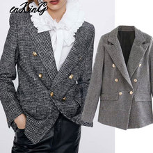 2020  women formal houndstooth tweed za blazer double breasted long sl
