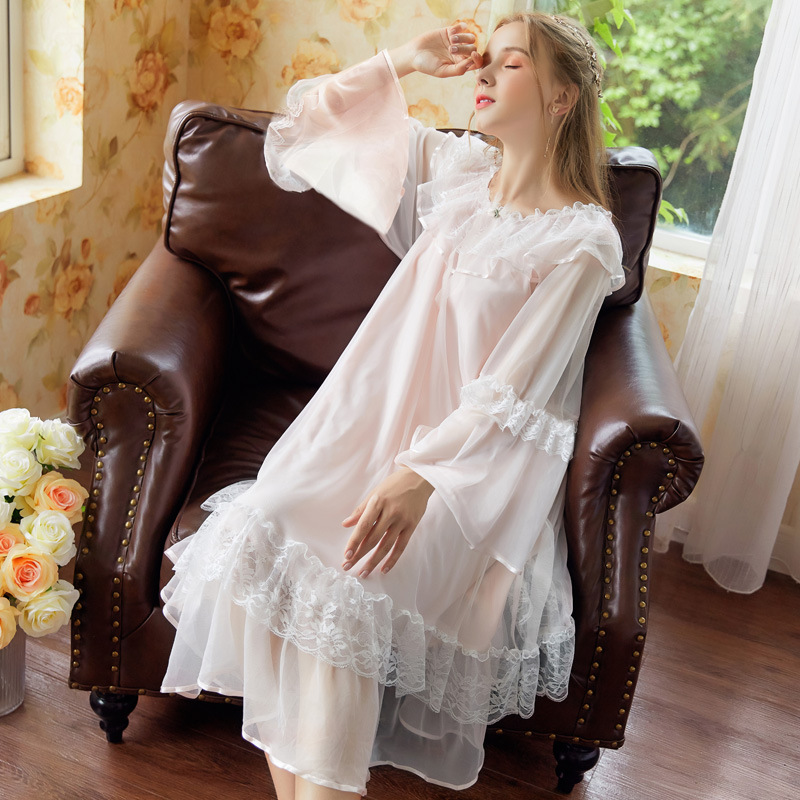 Sweet Princess Nightdress Lace Flowers Long Home Dress Nightwear Ropa Mujer Verano 1744