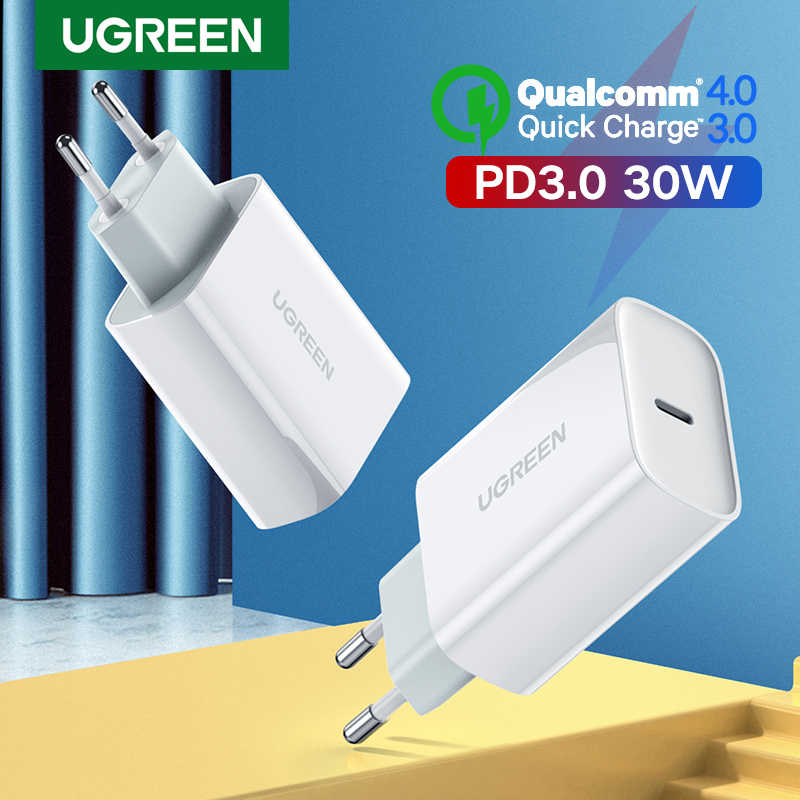 Ugreen pd carregador 30 w usb tipo c carregador rápido para iphone 11 x xs 8 macbook telefone qc3.0 usb c carga rápida 4.0 3.0 qc pd carregador