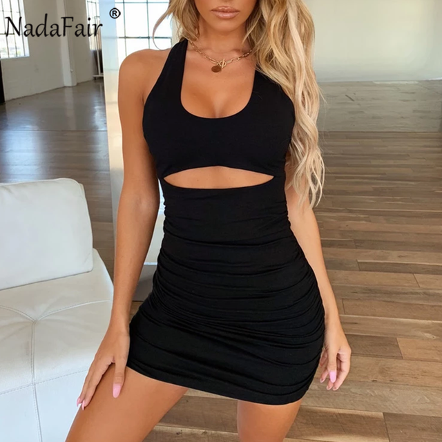 Nadafair Sexy Off Shoulder Backless Bandage Party Dress Women Ruched Club White Black White Mini Bodycon Summer Dress Vestidos 3