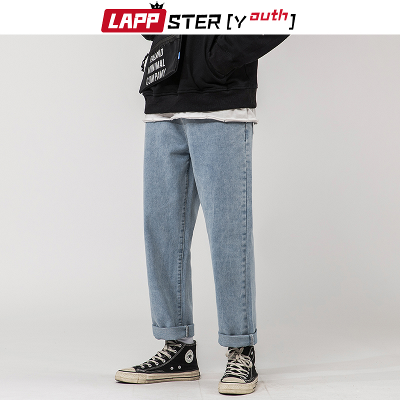 LAPPSTER-Youth Korean Blue Jeans Pants Men 2020 Mens Loose Solid Vintage Staight Denim Pants Male Korean Fashions Grey Jeans 5XL