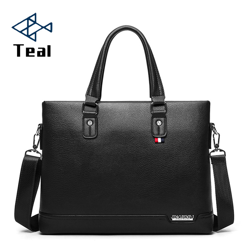 Men's Briefcase Black Casual Bag Pu Leather Briefcase Men's Tote Bags Brown High Quality Male Business Large Capacity
