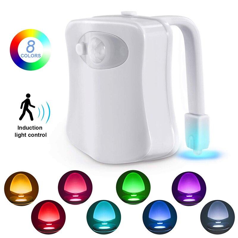T20 8-Color Toilet Night Light LED Night Lights Human Motion Sensor Automatic Toilet Seat Bowl Bathroom Night Lighting Children