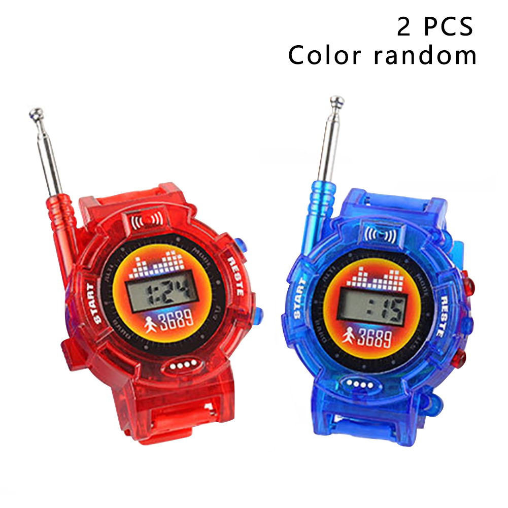 2pcs Battery Powered Walkie Talkie Outdoor Children Interactive Family Intercom Durable Smart Wrist Watch Kids Toy Random Color
