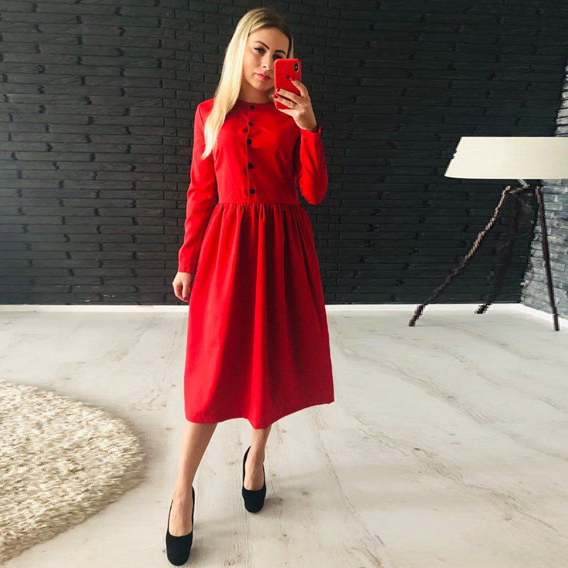 Women Casual A Line Party Dress Ladies Long Sleeve O Neck Button Elegant Dress 2019 Autumn Winter Fashion Office Dress Vestidos