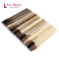 LuxyBeauty Ombre Hair Extension Tape In Hair Straight Skin Weft PU Hair Mixed Color Balayage Seamless Hair Extension On Adhesivs