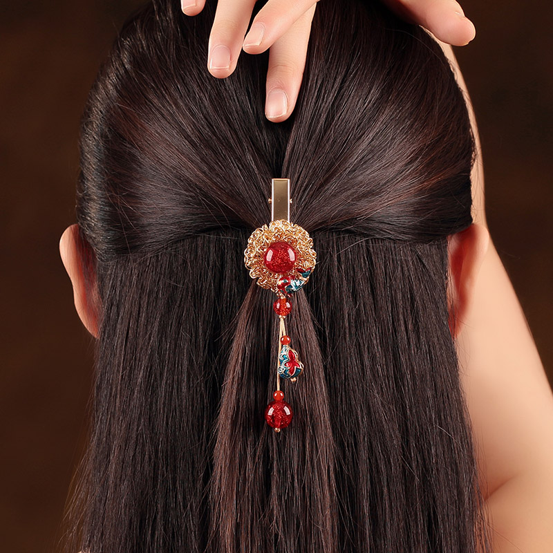 Fine coloured glaze Hairpin Ornaments Ethnic Hair Jewelry Enamel Barrettes Cloisonne Hair Accessories Headwear Clip