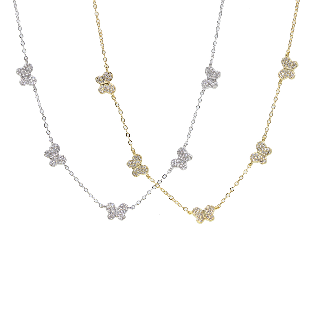 cz butterfly charm necklace for women cute beautiful animal design minimal delicate white cz 35+10cm choker necklaces