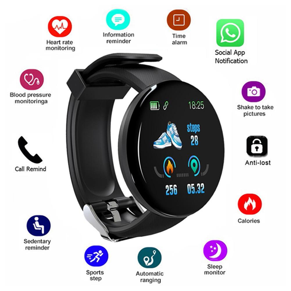 D18 Smart Watch Full Touch Clock Blood Pressure Heart Rate Monitor Control Music Message Reminder Smartwatch Men And Women