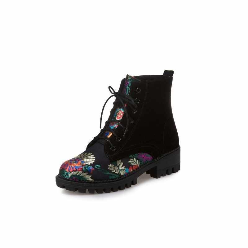 Folk Bloemen Gedrukt Womens Enkellaarsjes Faux Suede Leather Lace Up Vrouwelijke Schoenen Block Chunky Heel Winter Fleece Voering Warm botas