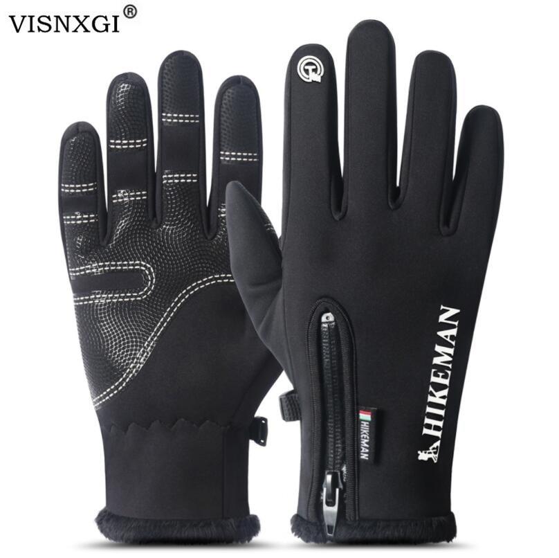 VISNXGI Unisex Waterproof Winter Gloves Cycling Men Winter Warm Touched Screen Windproof Anti Slip Long Mittens Wool Ski Gloves