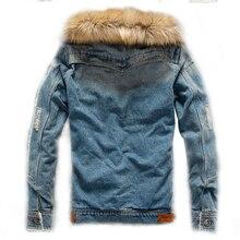 Denim Jacket With Fur Men Washing tactical jacket hooded Fleece Linner Warm man jeans Mens denim coat fur XP221