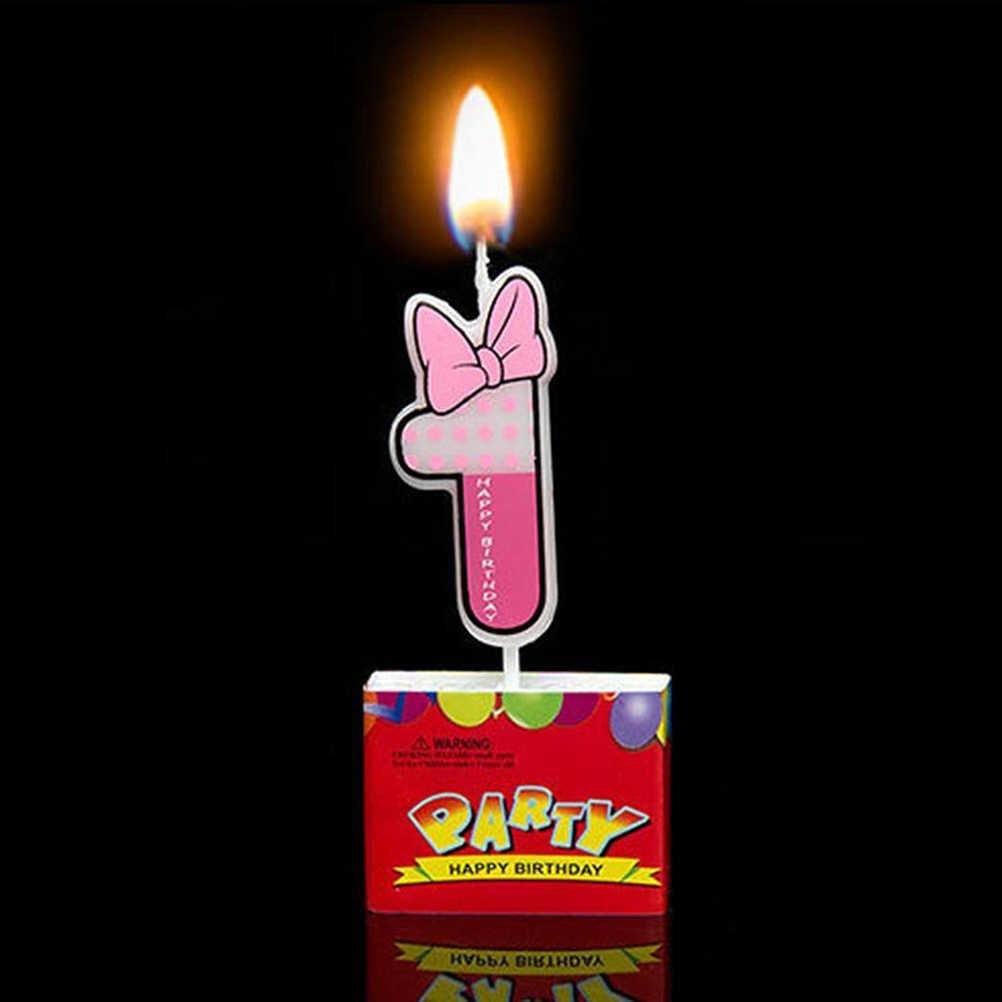 زخرفة كعكة عيد الميلاد شكل كعكة الكب كيك رقم 1 مع ربطة عنق لطيفة شموع عيد ميلاد عديمة الدخان Cake Decorating Supplies Aliexpress
