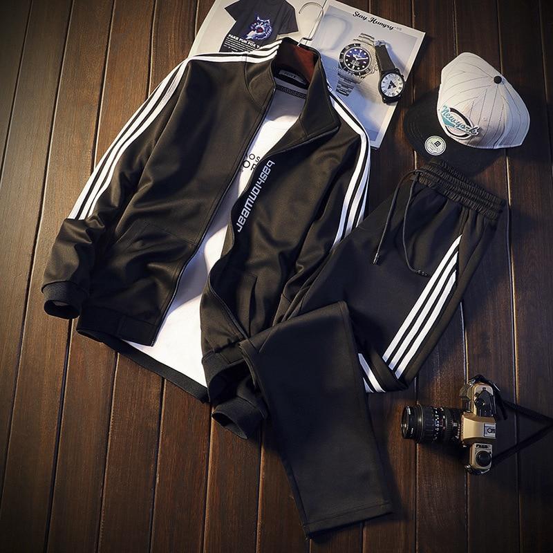 Men Autumn Long Sleeve Jacket Pants 2 Piece Set Sweatsuit Male 3 Bar Stripes Gym Jogger Sport Pants Men Sportswear Tracksuit