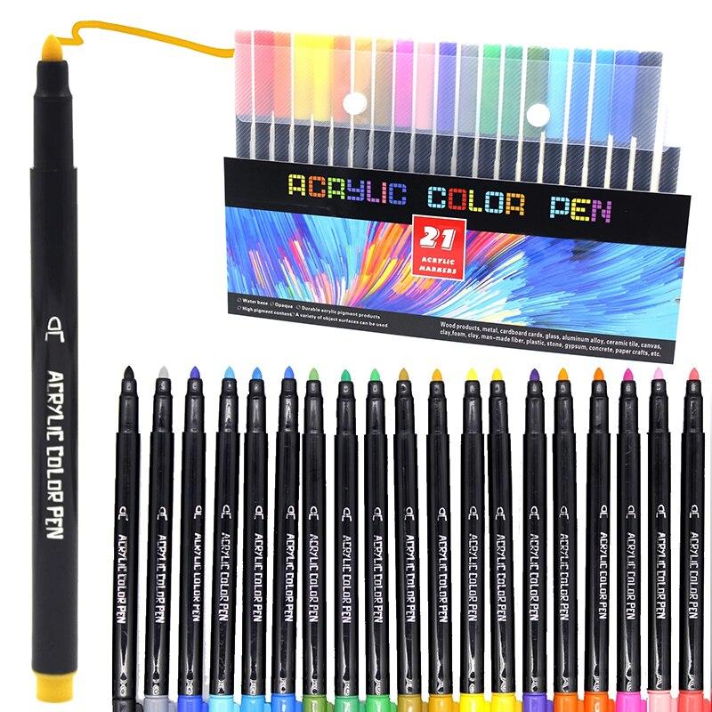 21 cores acrílico tinta marcador caneta marcação cor tinta canetas para cerâmica rock vidro porcelana caneca de madeira tela lona pintura