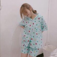 Bangtan Boys Pijama Seti Yaz Harajuku Baskılı Kawaii Karikatür Crayon Shin chan pamuklu pijamalar Kısa Kollu Yaz Pijama