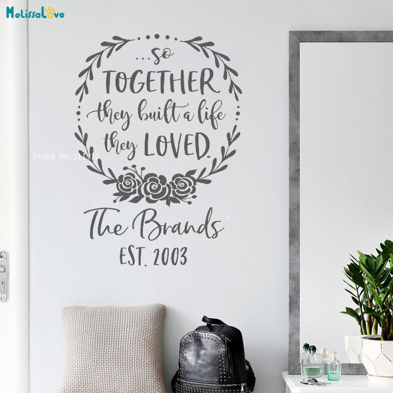 So Together They Built A Life They Loved Vinyl Wall Decal Personalized Family Name Est Date Sign Romantic Quote Yt1888 Wall Stickers Aliexpress