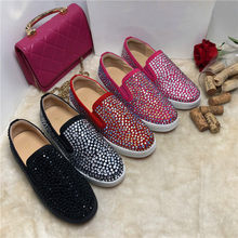 Tide Rhinestone Flat Shoes Women Autumn Loafers Women Thick Sole Sapato Feminino Slip On Ladies Shoes Zapatos De Muje Big Sizes(China)