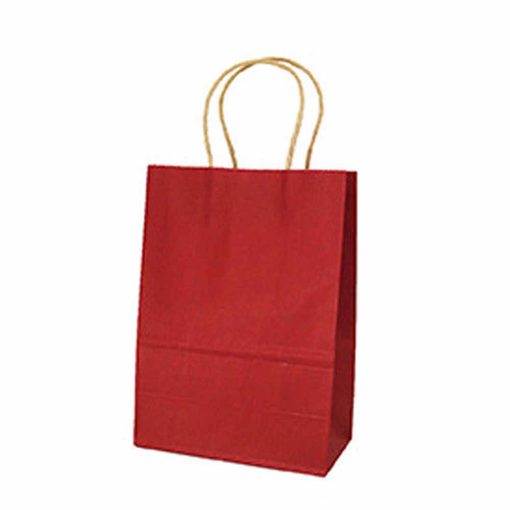 10 Warna Multi Warna Kertas Tas dengan Gagang DIY Multifungsi Tas Belanja Dapat Digunakan Kembali Eco Tote Tas Pesta Kertas Kraft untuk Hadiah