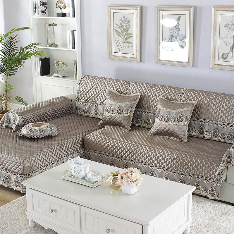 Image 3 - Waterproof Quilted Sofa Couch Cover Towel Jacquard Lace Silk Chair Cover Arm Towel Cover Furniture Protector Home Decoration D20